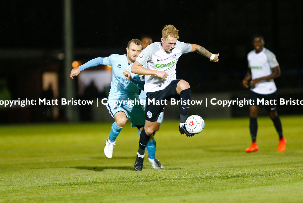 SEPTEMBER 12:  Top of the table Dover Athletic FChost eighth place Boreham Wood FC in Conference Premier at Crabble Stadium in Dover, England. The visitors, Boreham Wood  ran out winners a goal to nothing. Dover's forward Mitchell Pinnock. (Photo by Matt Bristow/mattbristow.net)