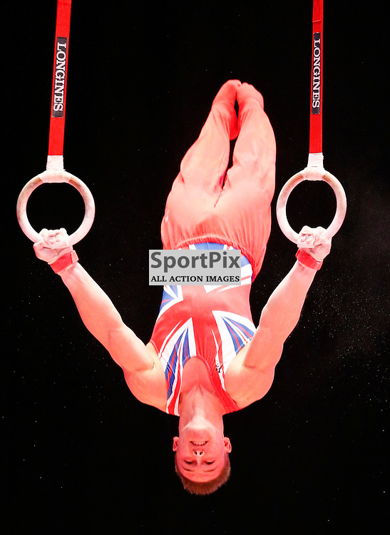 2015 Artistic Gymnastics World Championships being held in Glasgow from 23rd October to 1st November 2015...Brinn Bevan (Great Britain) competing in the Still Rings competition..(c) STEPHEN LAWSON | SportPix.org.uk