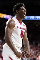 FAYETTEVILLE, AR - FEBRUARY 17:  Jaylen Barford #0 of the Arkansas Razorbacks screams and flexes his muscles after drawing a foul during a game against the Texas A&M Aggies at Bud Walton Arena on February 17, 2018 in Fayetteville, Arkansas.  The Razorbacks defeated the Aggies 94-75.(Photo by Wesley Hitt/Getty Images) *** Local Caption *** Jaylen Barford
