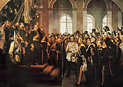 Wilhelm I (1859-1888) King of Prussia from 1861, being  proclaimed first Emperor of Germany, 1871. After the defeat of France in the Franco-Prussian War of 1870-1871, as a gesture of further humiliation of the French, on 18 January 1871 Wilhelm was crowned in the Hall of Mirrors at Versailles. the palace built by Louis XIV. Otto von Bismarck, German Chancellor, in which coat in centre.