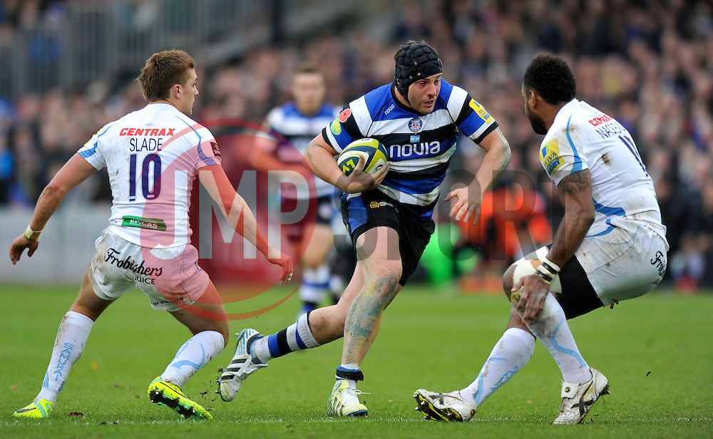 Juan Pablo Orlandi (Bath) goes on the attack - Photo mandatory by-line: Patrick Khachfe/JMP - Tel: Mobile: 07966 386802 17/11/2013 - SPORT - RUGBY UNION -  The Recreation Ground, Bath - Bath v Exeter Chiefs - LV= Cup.