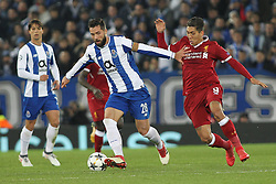March 6, 2018 - Liverpool, U.S. - Liverpool v FC Porto UEFA Champions League Roberto Firmino of Liverpool and Felipe of FC Porto in action during the UEFA Champions League match at Anfield, Liverpool.  (Photo by Focus Images/Imago/Icon Sportswire) ****NO AGENTS---NORTH AND SOUTH AMERICA SALES ONLY****NO AGENTS---NORTH AND SOUTH AMERICA SALES ONLY* (Credit Image: © Focus Images/Icon SMI via ZUMA Press)