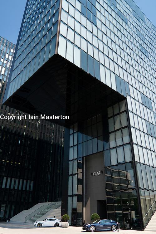 Modern Hyatt Regency design Hotel in Medienhafen or Media Harbour district of Dusseldorf Germany
