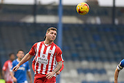 Accrington Stanley Forward, Billy Kee (29) heads the ball on during the EFL Sky Bet League 2 match between Portsmouth and Accrington Stanley at Fratton Park, Portsmouth, England on 11 February 2017. Photo by Adam Rivers.
