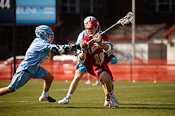 CHAPEL HILL, NC - MARCH 02: Danny Logan #19 of the Denver Pioneers during a game against the North Carolina Tar Heels on March 02, 2019 at the UNC Lacrosse and Soccer Stadium in Chapel Hill, North Carolina. Denver won 12-10. (Photo by Peyton Williams/US Lacrosse)