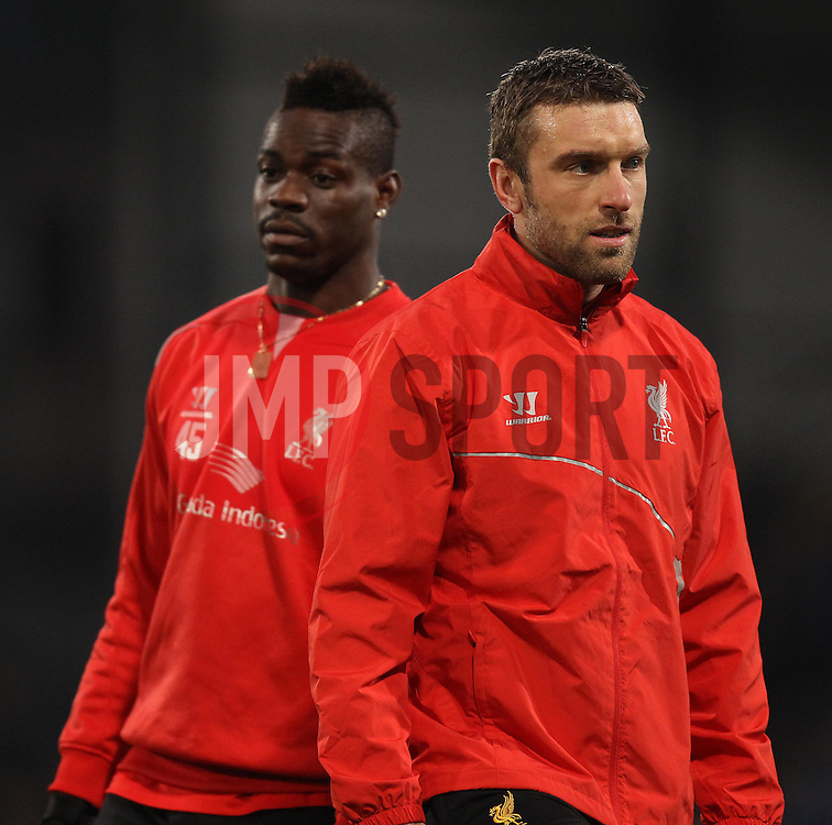 Liverpool's Rickie Lambert and Mario Balotelli warm up - Photo mandatory by-line: Robbie Stephenson/JMP - Mobile: 07966 386802 - 14/02/2015 - SPORT - Football - London - Selhurst Park - Crystal Palace v Liverpool - FA Cup - Fifth Round