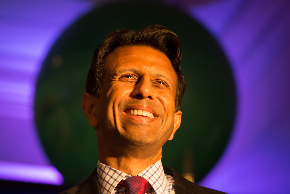 "July 9, 2015, New Orleans, LA Louisiana Gov. Bobby Jindal gives a keynote speech to a group of supporters at the National Right to Life Convention in the Marriot Hotel. ""If the Republican Party cannot make defending the defenseless into a winning issue, they should just close up shop,""  Jindal told them. He boasted that Louisiana has been ranked as the ""most pro-life state for the last six years,"" according to Americans United for Life. However according to Associated Press, Louisiana was one of two states, (Michigan is the other) — where abortions are on the rise from 2010 to 2014. <br /> <br /> Jindal was on the offensive, attacking Obama, Hillary and all of the other Republican Candidates, who in his eyes are not embracing Republican principles deeply enough, at least not like he is. <br /> He talked about killing islamic terrorist in front of a sign the read ""Life,' that was made out of balloons."