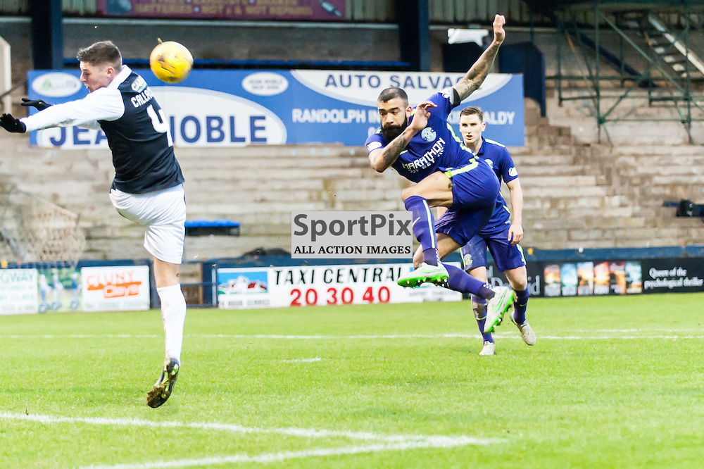 Hibernian's Liam Fontaine shoots at goal. Action from the Raith Rovers v Hibernian game in the 3rd Round of the Scottisg Cup at  in Kirkcaldy, 9 January 2016. (c) Paul J Roberts / Sportpix.org.uk