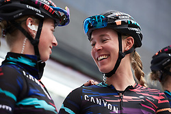 The Barnes sisters share a joke at sign on at Emakumeen Bira 2018 - Stage 3, a 114.5 km road race starting and finishing in Aretxabaleta, Spain on May 21, 2018. Photo by Sean Robinson/Velofocus.com
