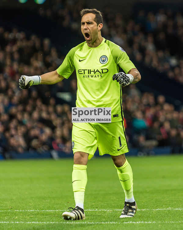 Manchester City goalkeeper Claudio Bravo (1) celebrates as his side take a 2-0 lead in the Premier League match between West Bromwich Albion and Manchester City <br /> <br /> (c) John Baguley | SportPix.org.uk
