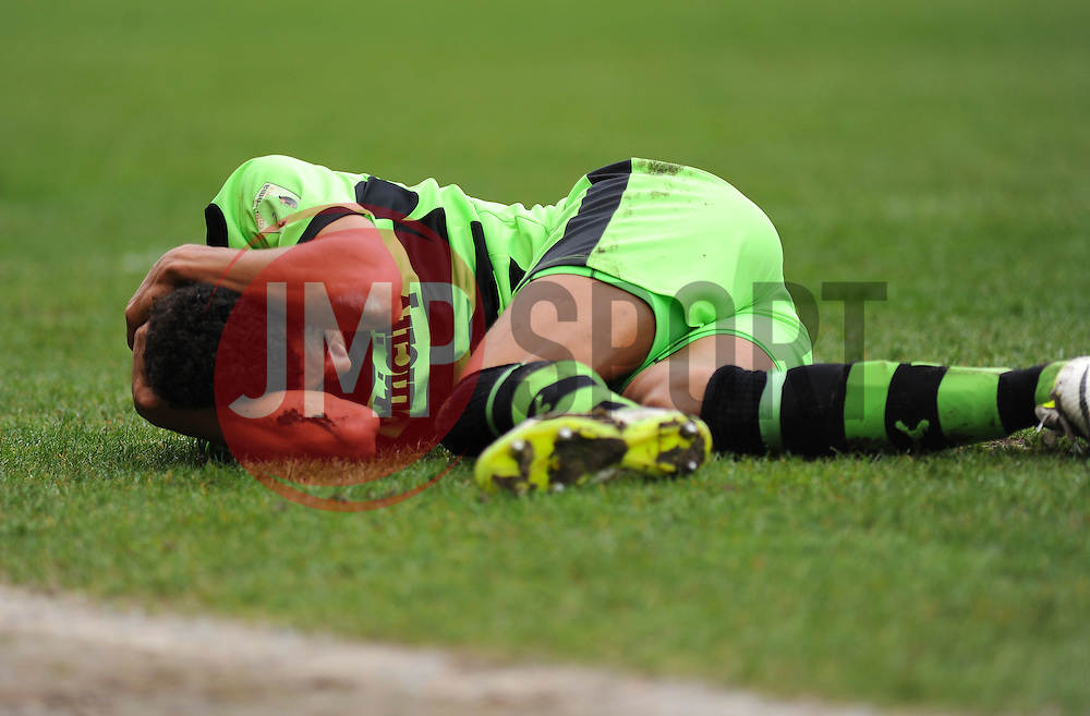 Forest Green Rovers's Kurtis Guthrie is brought to the ground - Photo mandatory by-line: Nizaam Jones - Mobile: 07966 386802 - 03/04/2015 - SPORT - Football - Nailsworth - The New Lawn - Forest Green Rovers v Aldershot Town - Vanarama Football Conference