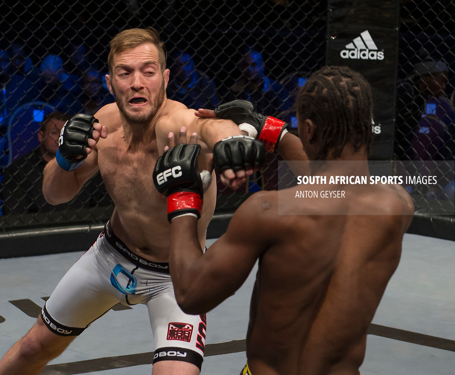 JOHANNESBURG, SOUTH AFRICA - MAY 13: (L-R) Niel du Plessis punches during EFC 59 Fight Night at Carnival City on May 13, 2017 in Johannesburg, South Africa. (Photo by Anton Geyser/EFC Worldwide/Gallo Images)