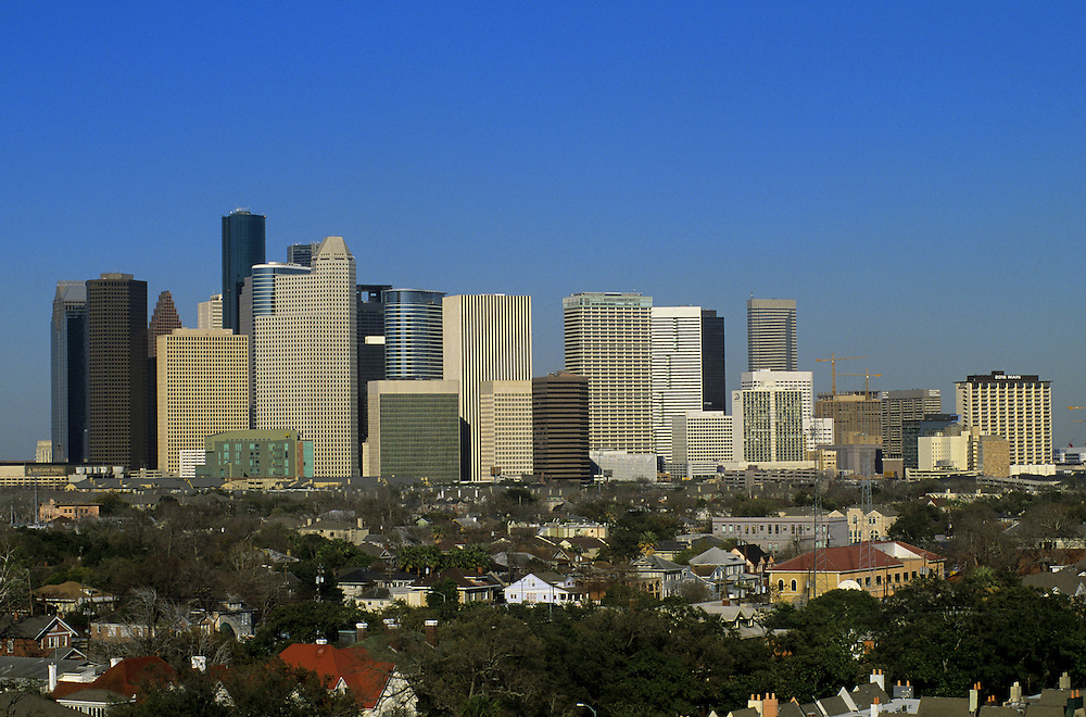 Southern view of Houston, Texas downtown skyline in the afternoon.