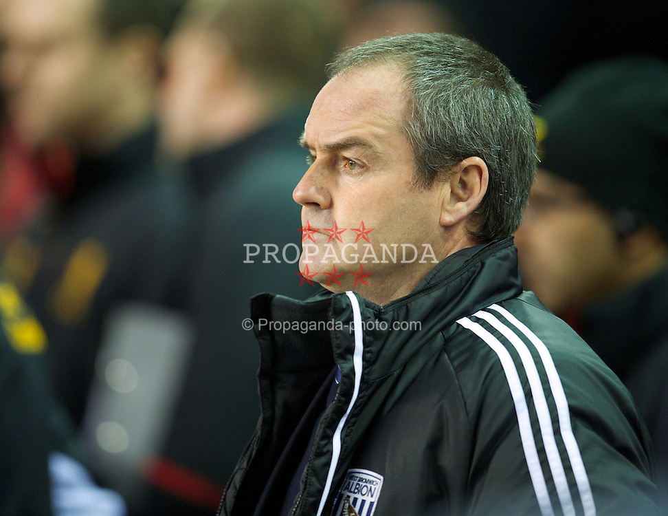LIVERPOOL, ENGLAND - Monday, February 11, 2013: West Bromwich Albion's manager Steve Clarke during the Premiership match against Liverpool at Anfield. (Pic by David Rawcliffe/Propaganda)