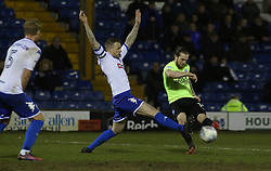Jack Marriott of Peterborough United shoots at goal past Peter Clarke of Bury - Mandatory by-line: Joe Dent/JMP - 13/03/2018 - FOOTBALL - Gigg Lane - Bury, England - Bury v Peterborough United - Sky Bet League One