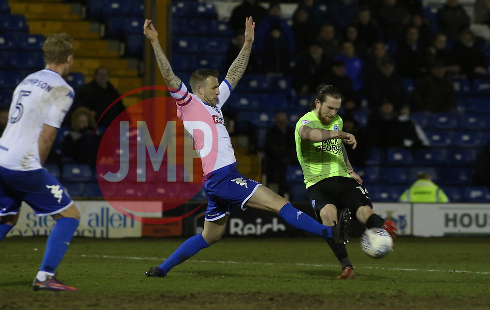 Jack Marriott of Peterborough United shoots at goal past Peter Clarke of Bury - Mandatory by-line: Joe Dent/JMP - 13/03/2018 - FOOTBALL - Gigg Lane - Bury, England - Bury v Peterborough United - Sky Bet League One