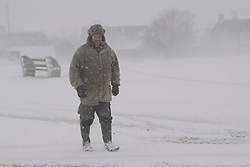 © Licensed to London News Pictures. 28/02/2018. THE LIZARD UK.  The beast from the east struck The Lizard, the most southerly point of Great Britain, today causing havoc in Cornwall. Photo credit: MARK HEMSWORTH/LNP