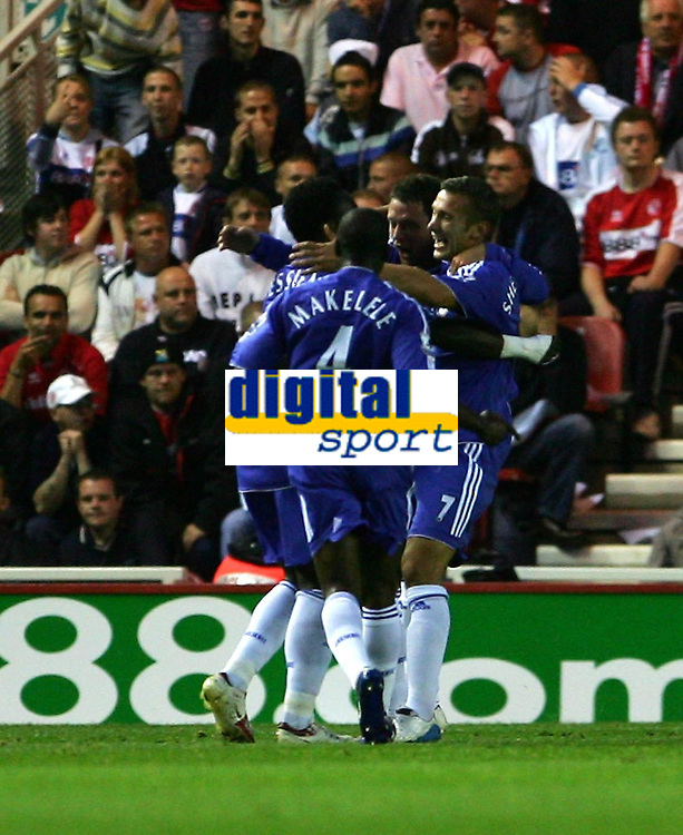 Photo: Andrew Unwin.<br /> Middlesbrough v Chelsea. The Barclays Premiership. 23/08/2006.<br /> Chelsea celebrate their first goal scored by Andriy Shevchenko.