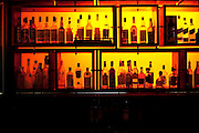 Israel, Eilat Nightlife bottles in a dark bar
