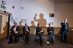 © Licensed to London News Pictures . 06/11/2012 . Manchester , UK . L-R Michael Winstanley (Conservative Party), Matt Gallagher (Liberal Democrats), David Ottewell (Manchester Evening News political reporter) , Steven Woolfe (UKIP) and Tony Lloyd (Labour). Manchester Police and Crime Commissioner debate this evening (6th November 2012) , at the Roscoe Building , the University of Manchester . Elections for 41 local Police and Crime Commissioners take place across the UK on 15th November 2012 . Photo credit : Joel Goodman/LNP
