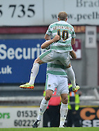 AJ Leitch-Smith (10) of Yeovil Town celebrates scoring to make it 3-1 during the Sky Bet League 1 match at the Coral Windows Stadium, Bradford<br /> Picture by Richard Land/Focus Images Ltd +44 7713 507003<br /> 06/09/2014
