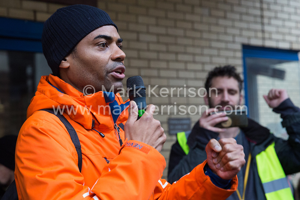 London, UK. 25 November, 2019. Outsourced workers belonging to the United Voices of the World (UVW) trade union stand on the picket line outside their workplace at St Mary's Hospital Paddington. Outsourced to Imperial College Healthcare NHS Trust via Sodexo, one of the world's largest multinational corporations, around 200 migrant cleaners, porters and caterers are striking to become NHS employees and have declared an indefinite strike in January 2020. Credit: Mark Kerrison/Alamy Live News