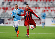 OSTERSUND, SWEDEN - MARCH 17: Lasse Nielsen of Malmo FF and Dino Islamovic of Ostersunds FK during the Swedish Cup Semifinal between Ostersunds FK and Malmo FF at Jamtkraft Arena on March 17, 2018 in Ostersund, Sweden. Photo: Nils Petter Nilsson/Ombrello ***BETALBILD***