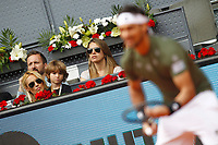 Spanish tennis legend Carlos Moya's wife Carolina Cerezuela and her son during Madrid Open Tennis 2017 match. May 10, 2017.(ALTERPHOTOS/Acero)