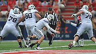 BYU's Jake Heaps (9) recovers a fumble at Vaught-Hemingway Stadium in Oxford, Miss. on Saturday, September 3, 2011. BYU won 14-13.