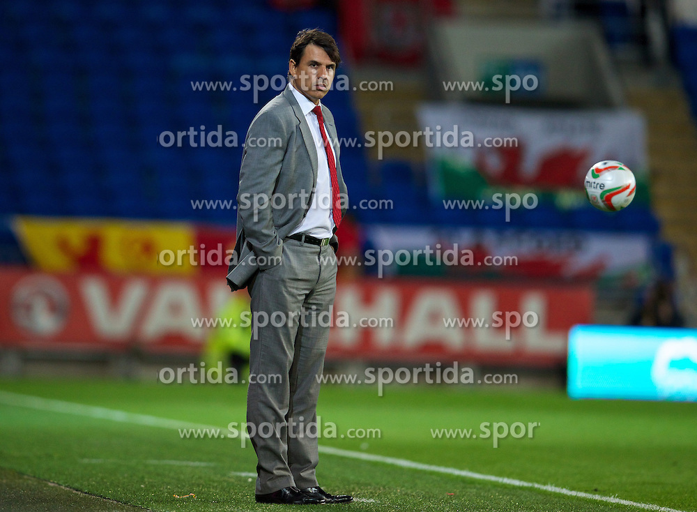 11.10.2013, City Stadion, Cardiff, WAL, FIFA WM Qualifikation, Wales vs Mazedonien, Gruppe A, im Bild Wales' manager Chris Coleman on the touchline against Macedonia during the FIFA World Cup Qualifier Group A Match between Wales and Macedonia at the City Stadium, Cardiff, Wales on 2013/10/11. EXPA Pictures © 2013, PhotoCredit: EXPA/ Propagandaphoto/ David Rawcliffe<br /> <br /> ***** ATTENTION - OUT OF ENG, GBR, UK *****