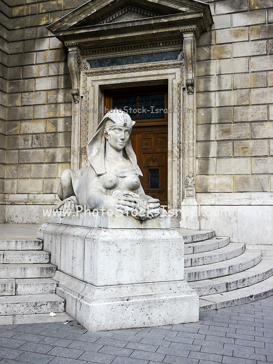 Sphinx statue at Opera House in Budapest, Hungary