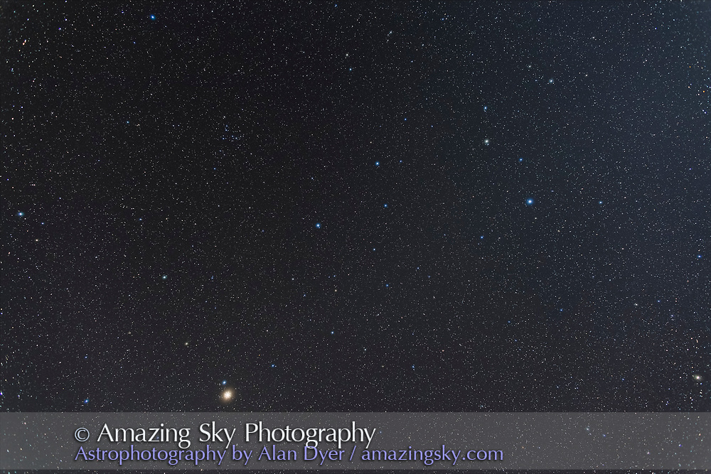 The constellations of Leo (right) and Coma Berenices (left) at top with reddish Mars in Virgo at bottom left. <br /> <br /> I shot this May 3 from the Four Bar Cottages near the Arizona Sky Village near Portal Arizona, using the 24mm lens at f/2.8 and Canon 6D at ISO 800 for a stack of 4 x 2 minute exposures in moonlight with a waxing crescent Moon off frame at right. The star glows from from another 2 exposures shot through the Kenko Softon filter.