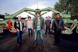 17 October 2013. Abandoned Six Flags, New Orleans, Louisiana. <br /> Terry McDermott and the Bonfires. <br /> L/R; Dave Rosser, Alex Smith, Terry McDermott, Richard Hyland and Eric Bolivar.<br /> Photo; Charlie Varley