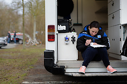 Eugenie Duval (FDJ) makes final stem notes before the 124.2 km Omloop Het Nieuwsblad - Elite Women on February 25th 2017, starting and finishing in Gent, Belgium. (Photo by Sean Robinson/Velofocus)