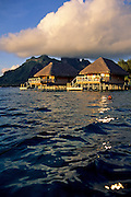 Image of the overwater bungalows at Hotel Bora Bora on Bora Bora, Tahiti, French Polynesia