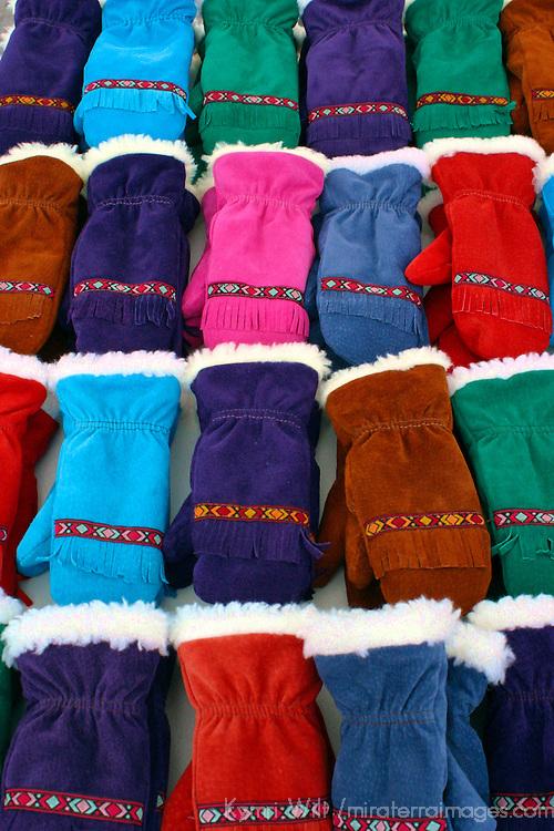 Europe, Scandinavia, Finland, Helsinki. An assortment of winter mittens in the Helsinki market.