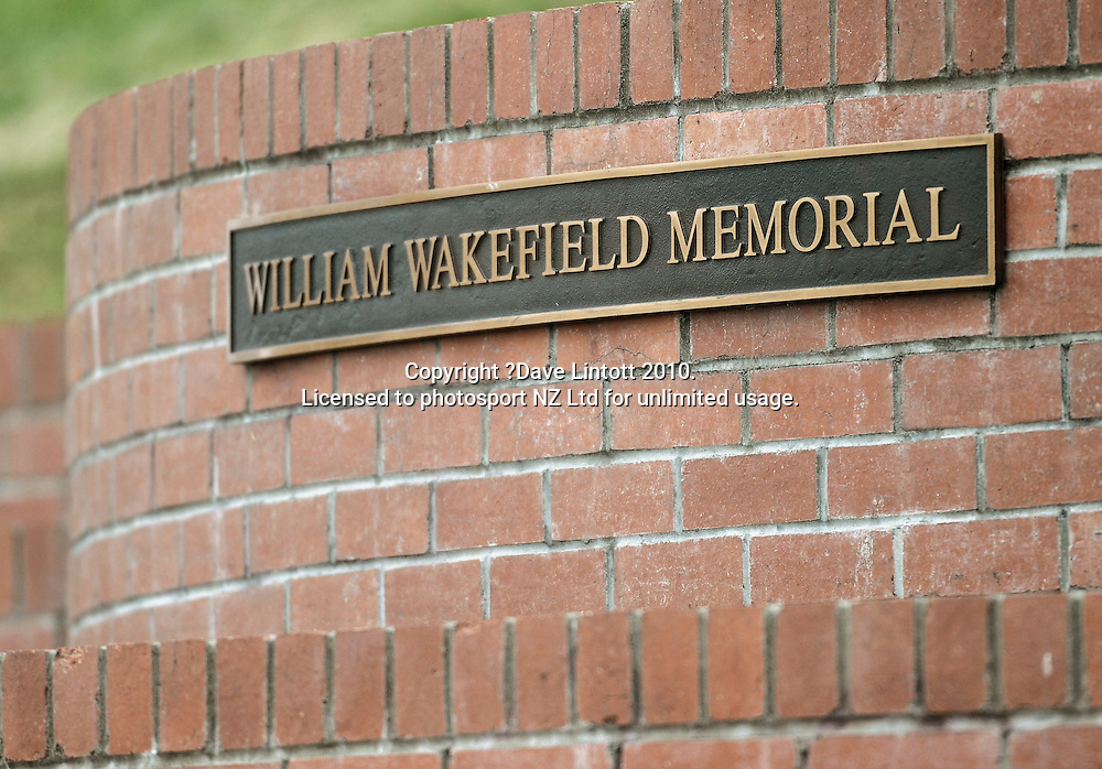 The William Wakefield Memorial. Plunket Shield cricket - Wellington Firebirds v Northern Knights at Allied Nationwide Finance Basin Reserve, Wellington. Tuesday, 16 November 2010. Photo: Dave Lintott / photosport.co.nz