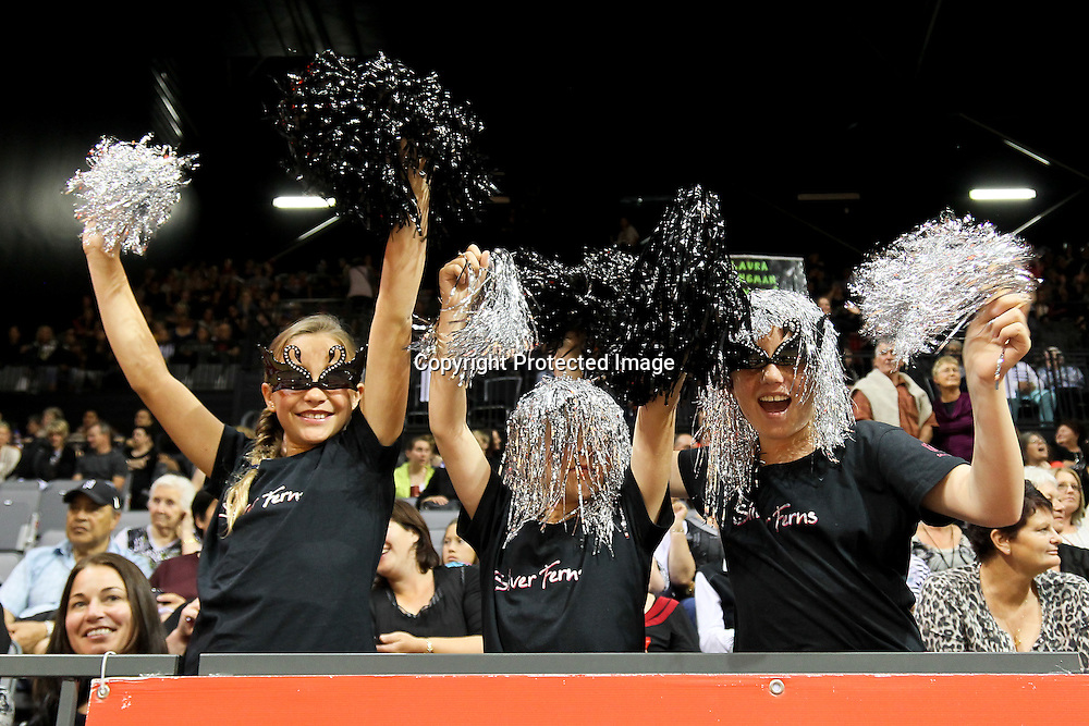 Silver Ferns fans during the New World Quad Series - Silver Ferns v Australian Diamonds, 1 November 2012.  Photo:  Bruce Lim / www.photosport.co.nz