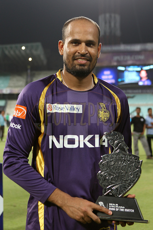 Yusuf Pathan is man of the match during match 47 of the Pepsi Indian Premier League between The Kolkata Knight Riders and the Rajasthan Royals held at the Eden Gardens Stadium in Kolkata on the 3rd May 2013..Photo by Ron Gaunt-IPL-SPORTZPICS  ..Use of this image is subject to the terms and conditions as outlined by the BCCI. These terms can be found by following this link:..http://www.sportzpics.co.za/image/I0000SoRagM2cIEc