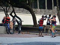 Rio de Janeiro-Brazil May 2, 2020, Population trains boxing and plays football, during the Coronavirus pandemic in Copacabana
