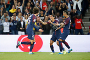 Adrien Rabiot (psg) scored a goal and celebrated it with Angel Di Maria (psg), Neymar da Silva Santos Junior - Neymar Jr (PSG) during the French championship L1 football match between Paris Saint-Germain (PSG) and Toulouse Football Club, on August 20, 2017, at Parc des Princes, in Paris, France - Photo Stephane Allaman / ProSportsImages / DPPI