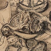 "Title: At My Kitchen Table<br /> Artist: Janie Sarason<br /> Date: 2012<br /> Medium: Pen and ink on pastel paper<br /> Dimensions: 21.25 x 17""<br /> Awards: Second Place in Drawing – 2012 Annual Student Art Exhibit<br /> Status: On loan<br /> Location: Highland Student Services Office, Highland Campus, Bldg 1000, Room 2300"