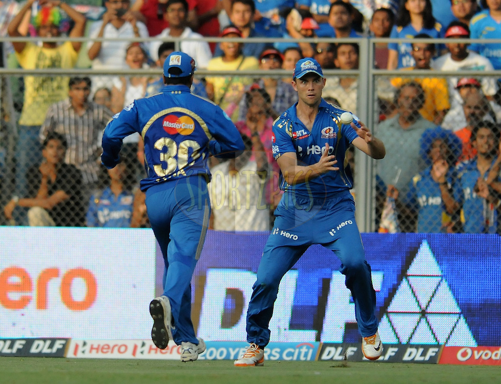 James Franklin of Mumbai Indians tries to stop a ball during match 28 of the Indian Premier League ( IPL) 2012  between The Mumbai Indians and the Kings X1 Punjab held at the Wankhede Stadium in Mumbai on the 22nd April 2012..Photo by Pal Pillai/IPL/SPORTZPICS.