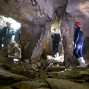 Participants study the exit of the caves  while Black Water rafting in the Waitomo Glowworm Caves, Waitomo, North Island, New Zealand..The Legendary Black Water Rafting Company is New Zealand's first black water adventure tour operator which takes tourists through the  Ruakuri Cave at Waitomo..The five hour expedition combines abseiling the 35 metre entrance. climbing, a flying fox. black water tubing, leaping and floating through Ruakuri Cave and observing glow worms. The journey concludes  into the sunlight of the Waitomo forest..Waitomo, New Zealand,, 14th December  2010 Photo Tim Clayton