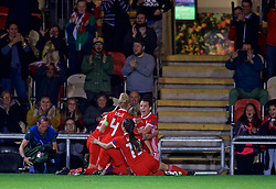 NEWPORT, WALES - Tuesday, September 3, 2019: Wales' Kayleigh Green (hidden) celebrates scoring the second goal with team-mates during the UEFA Women Euro 2021 Qualifying Group C match between Wales and Northern Ireland at Rodney Parade. (Pic by David Rawcliffe/Propaganda)