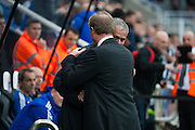 Newcastle United Manager Steve McClaren greets Chelsea FC Manager Jose Mourinho during the Barclays Premier League match between Newcastle United and Chelsea at St. James's Park, Newcastle, England on 26 September 2015. Photo by Craig McAllister.