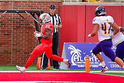 NORMAL, IL - October 06: James Robinson steps into the endzone for a TD under the watchful eye of Ken Cloud during a college football game between the ISU (Illinois State University) Redbirds and the Western Illinois Leathernecks on October 06 2018 at Hancock Stadium in Normal, IL. (Photo by Alan Look)