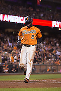 San Francisco Giants center fielder Denard Span (2) scores a run in the third inning against the St. Louis Cardinals at AT&T Park in San Francisco, Calif., on September 16, 2016. (Stan Olszewski/Special to S.F. Examiner)