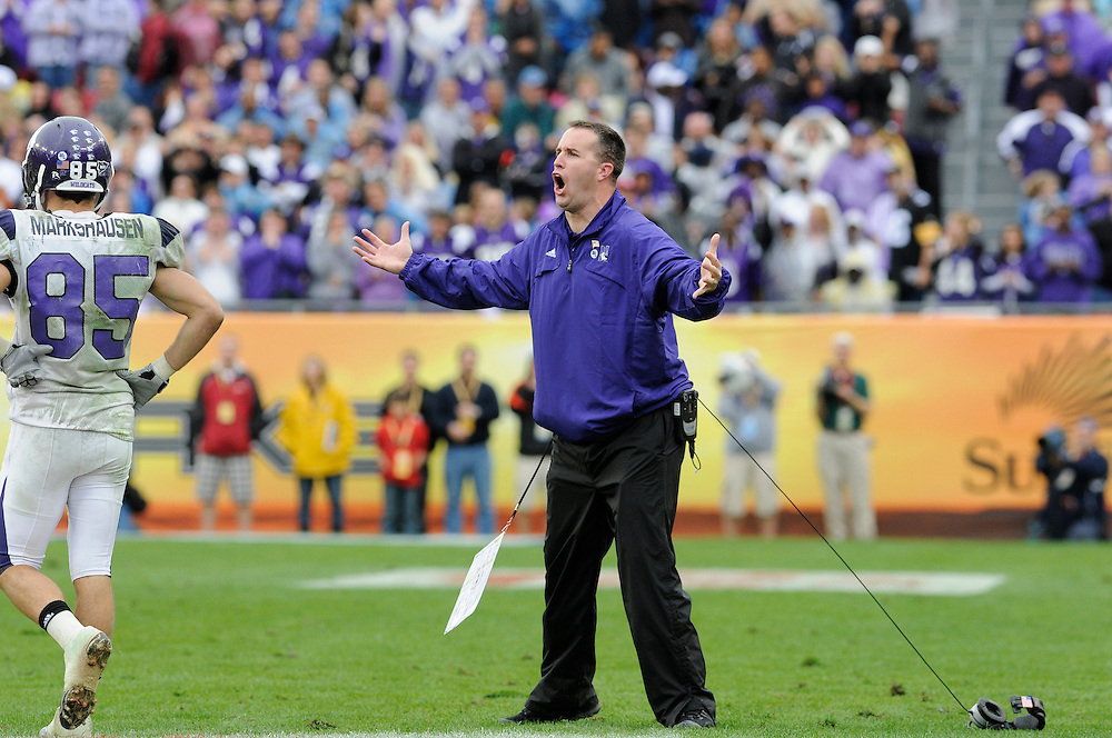 January 1, 2010: Head coach Pat Fitzgerald of the Northwestern Wildcats reacts to an offensive pass interference call on wide receiver Andrew Brewer during the NCAA football game between the Northwestern Wildcats and the Auburn Tigers in the Outback Bowl. The Tigers defeated the Wildcats 38-35 in overtime.