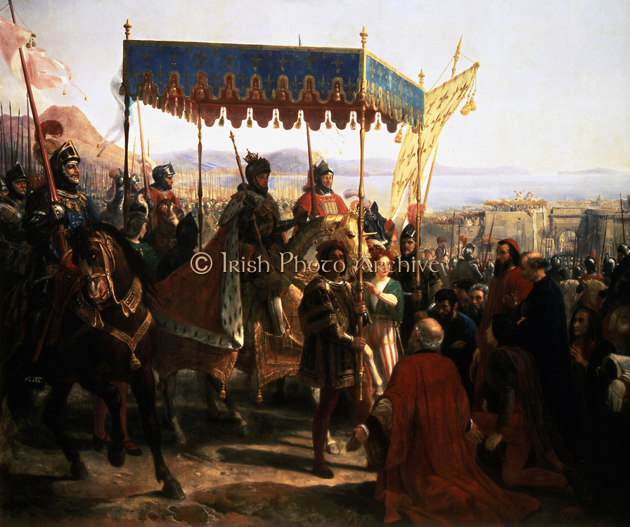 Entrance of Charles VIII of France into Naples, 12 May 1495, Franco-Italian War.  Charles VIII, the Affable (1470-1498) Valois King of France from 1483. 19th century French School. 19th century French School.